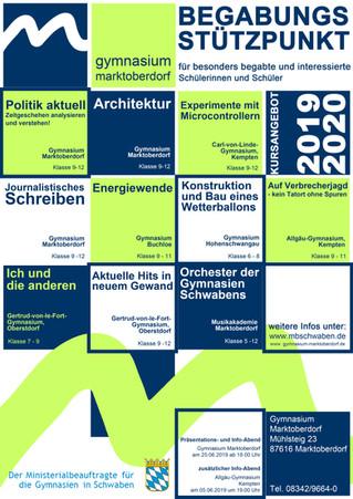 Begabungskurse und Seminare im Schuljahr 2019/20