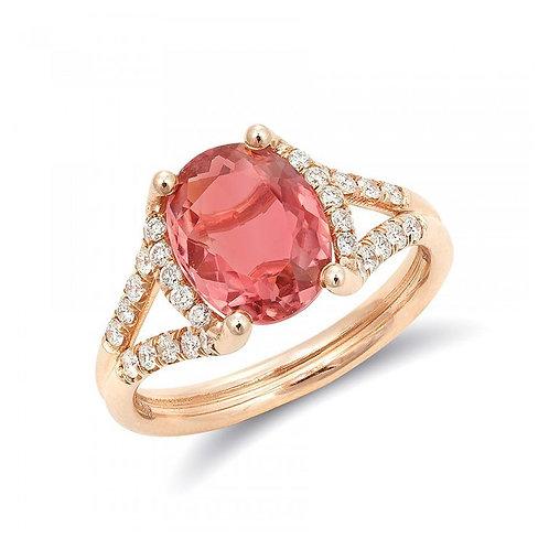 14k Rose Gold 2.61ct TGW Pink Tourmaline and White Diamond Ring