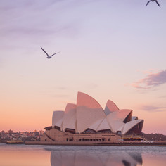 Sydney Opera House reflections at dusk, Australia.