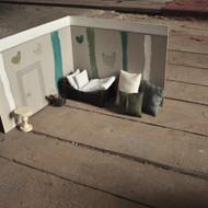 Papírová kulisa zelená s motivem slepice - set