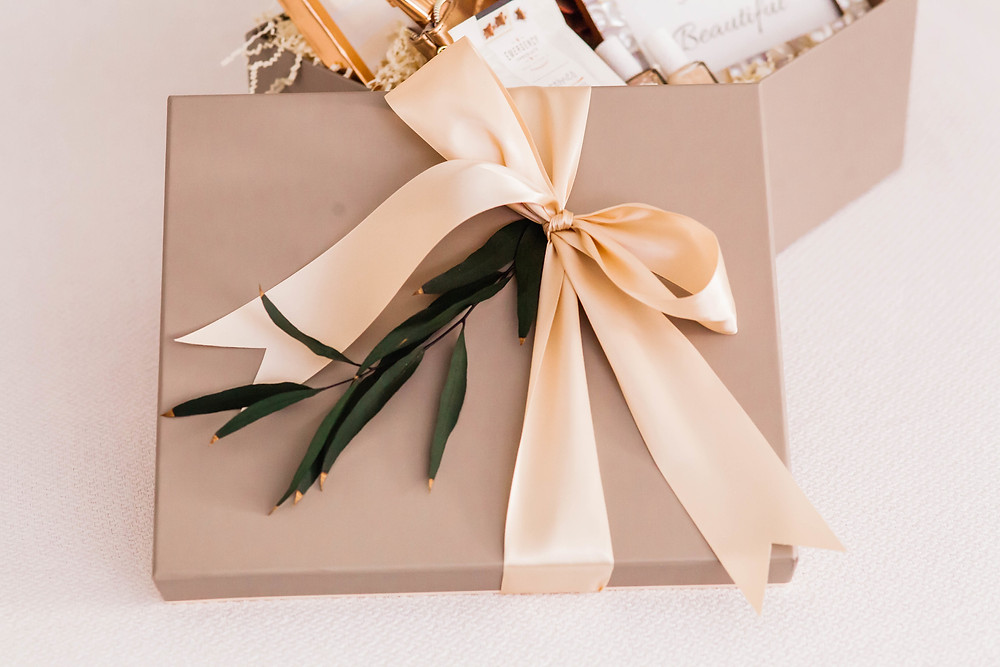 Champagne Colored Gift Box with Ribbon