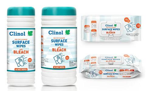 Clinol Surface Wipes With Bleach