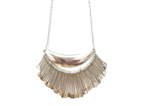 Silver Plate Modern Statement Necklace