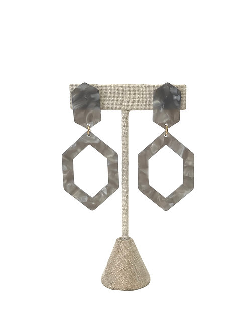 Grey Marbled Hexagonal Resin Earrings