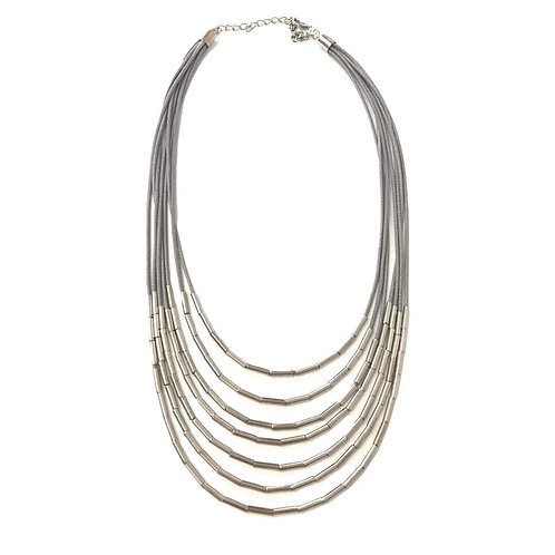 Multi-strand Grey and Silver Waterfall Necklace