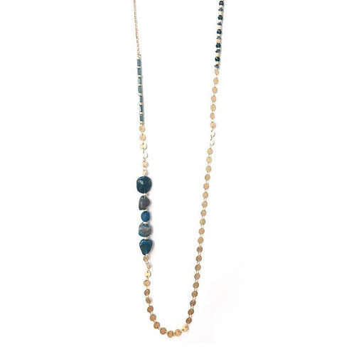 Sectioned Blue and Gold Beaded Necklace