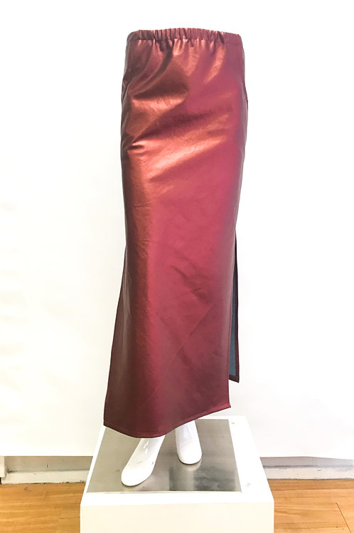 Metallic Ruby High Slit Skirt with Pockets