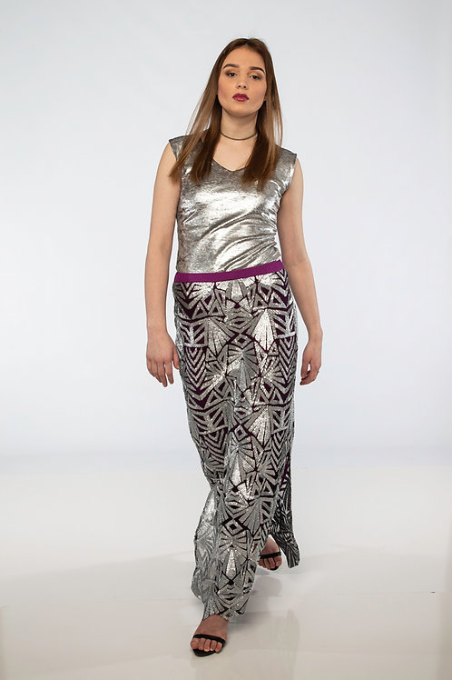 Silver and Raspberry Art Deco Maxi Skirt