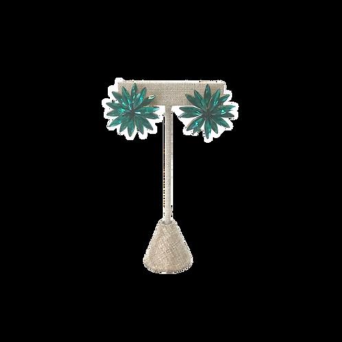 Teal Gemstone Chrysanthemum Earrings