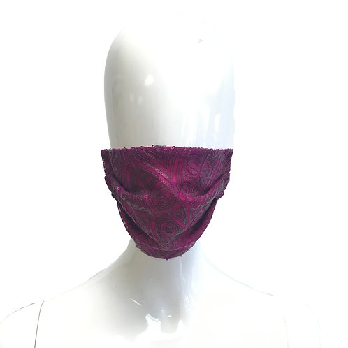 Deep Magenta Art Deco Sequin Face Mask