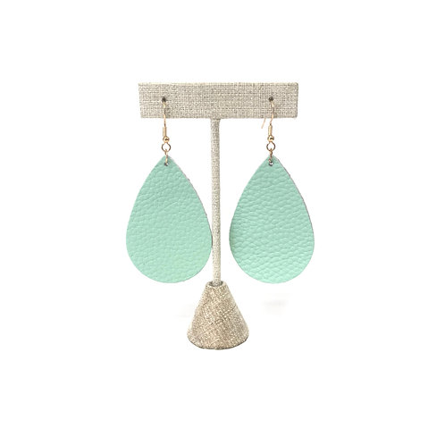 Teal Leather Teardrop Earrings