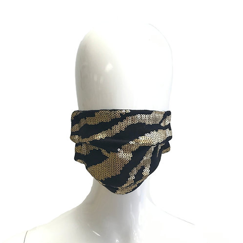 Black and Gold Zebra Print Sequin Face Mask