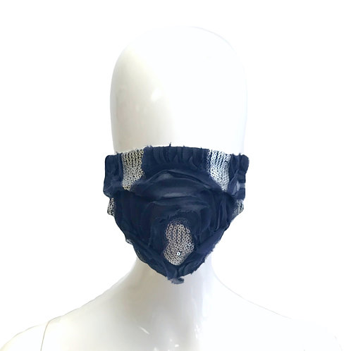 Navy and Silver Teardrop Sequin Face Mask