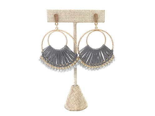 Silver Threaded Hoop Earrings