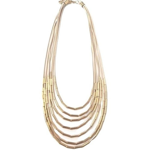 Multi-strand Tan and Gold Waterfall Necklace