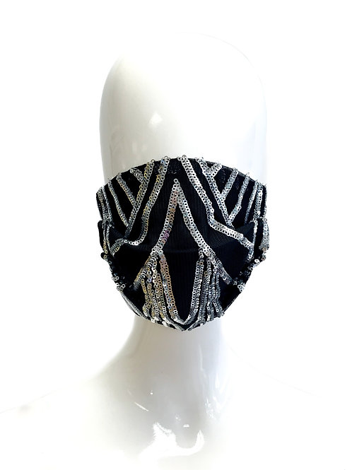 Black and Silver Art Deco Face Mask