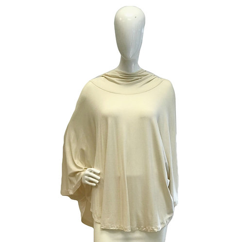 Soft Cream Hooded Poncho Top