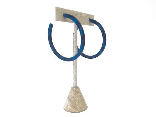 Dark Blue Hoop Earrings