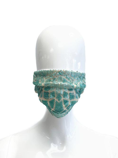 Seafoam Sequin Face Mask