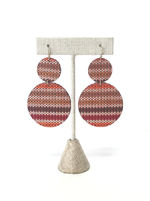 Red Woven Disc Earrings