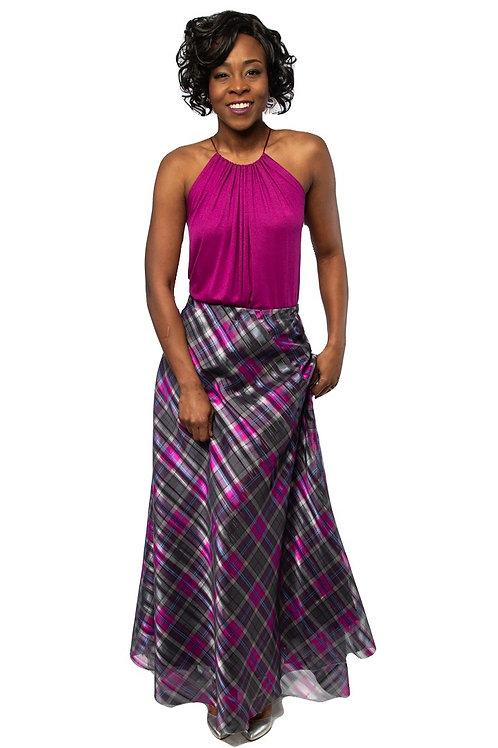 Shimmering Plaid Maxi Skirt