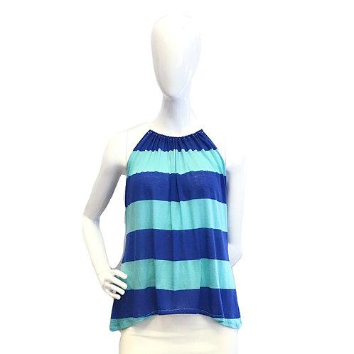Blue Striped String Top