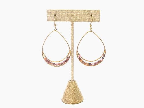 Mauve Beaded Drop Earrings