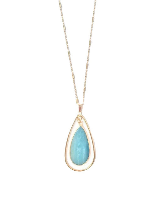 Dark Aqua Stone Pendant Necklace