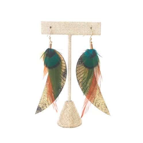 Feather and Leather Earrings