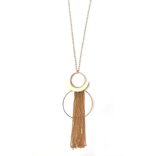 Geometric Circle Style Long Pendant Necklace