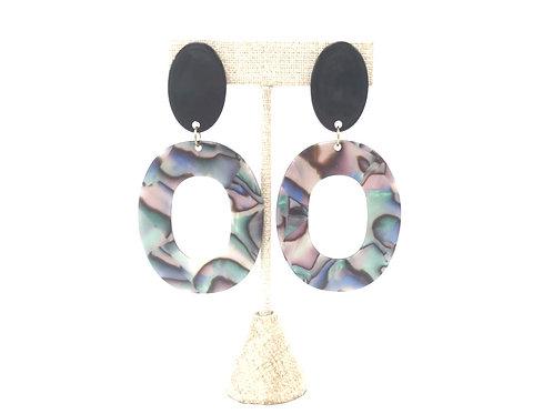 Multicolored Sheen Oval Earrings