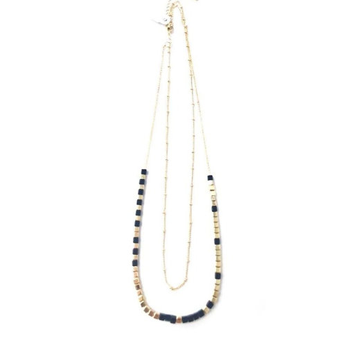 Gold and Black Two-strand Beaded Necklace
