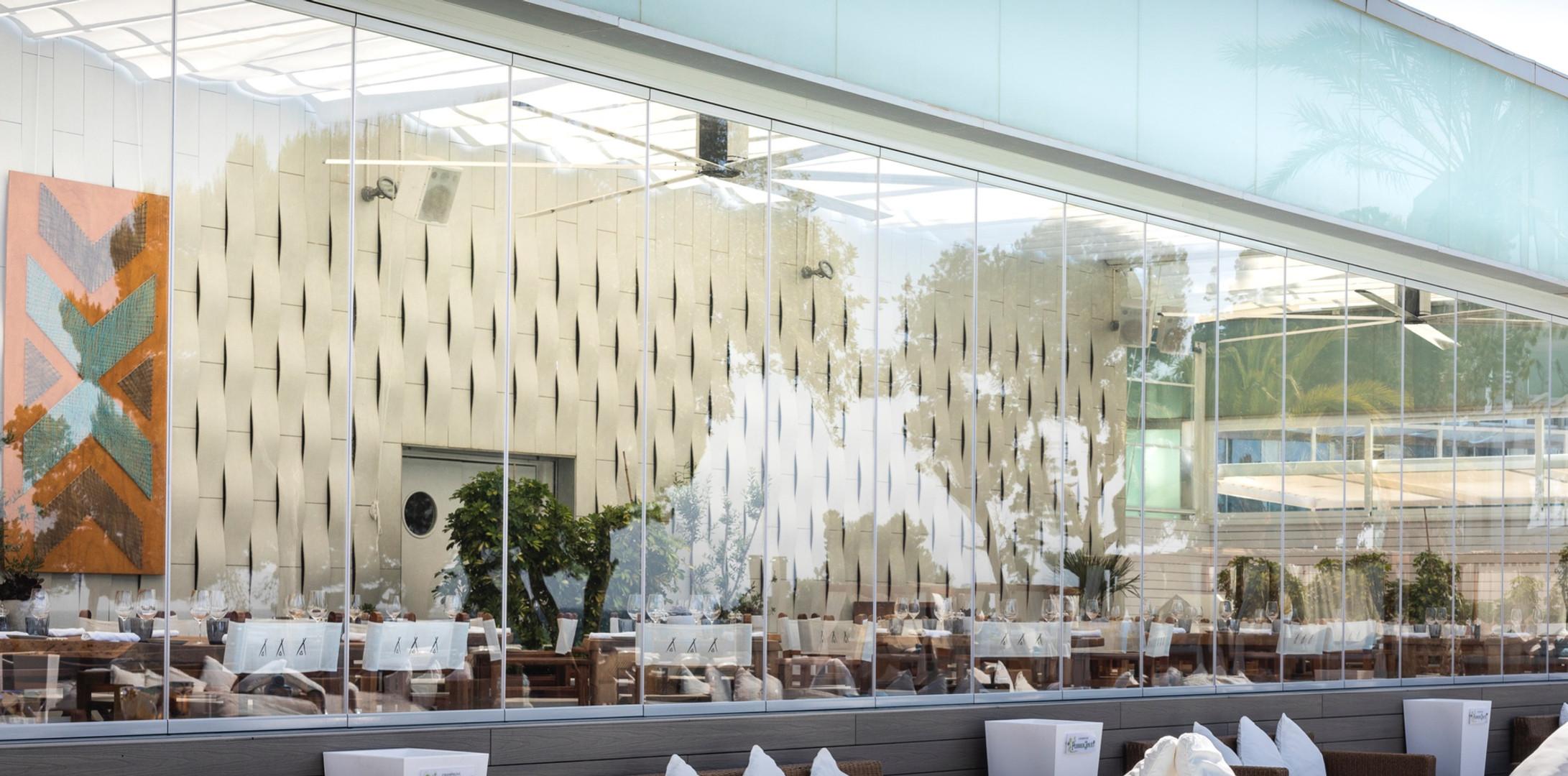 Restaurant Terrace Glass Curtains