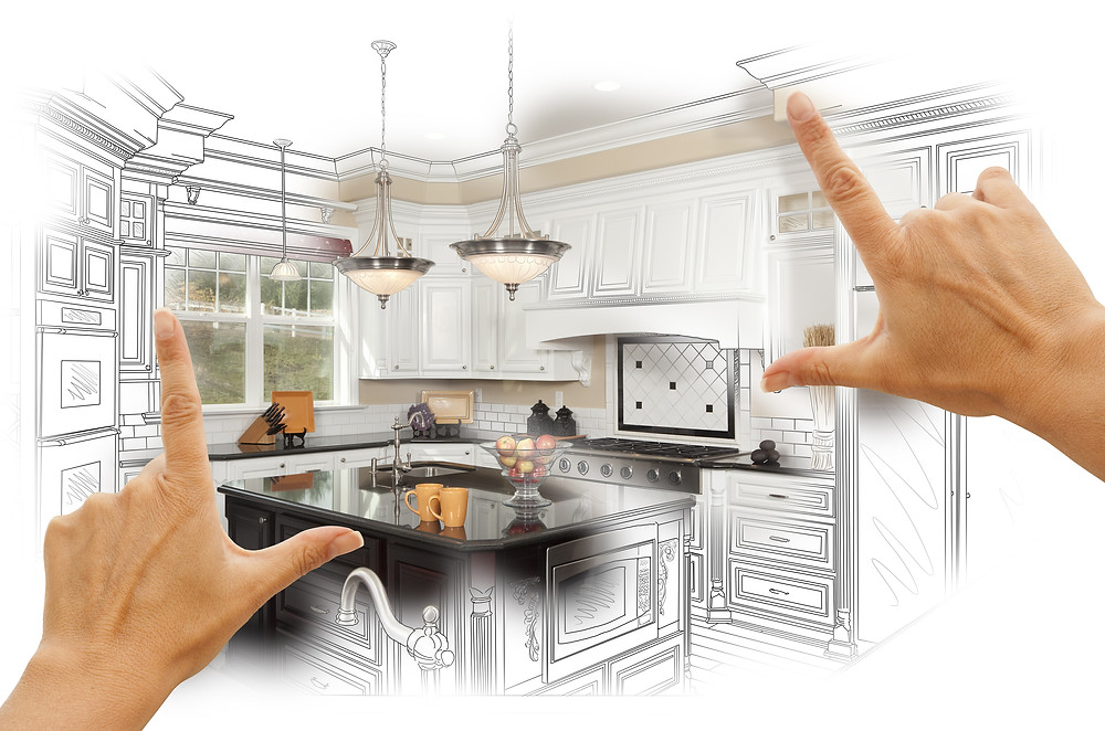 Female Hands Framing Custom Kitchen Design Drawing and Photo Combination..jpg