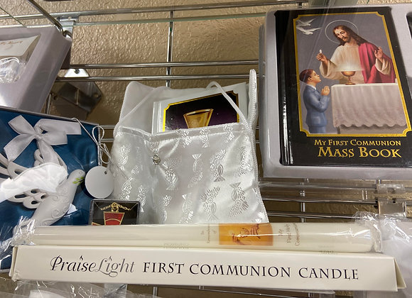 COMMUNION CANDLES, BAPTISM CANDLES, COMMUNION MASS BOOK AND ACCESSORIES