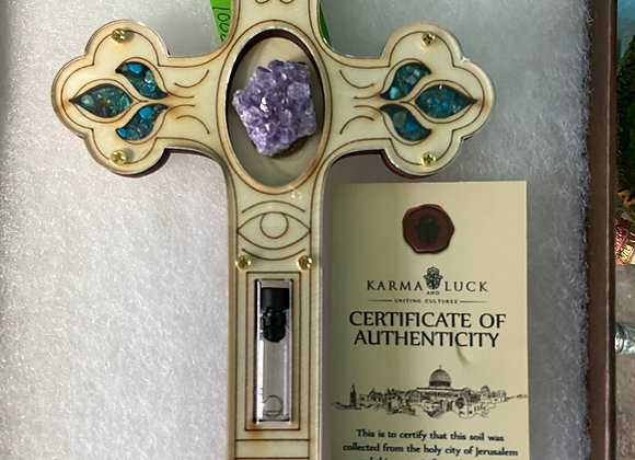 LEAP OF FAITH - AMETHYST CROSS WALL BLESSING HANDCRAFTED HOLY LAND