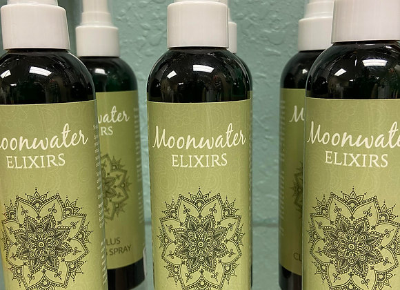 MOONWATER ELIXERS W/ SAGE AND CLEARING SPRAY W/ CRYSTALS