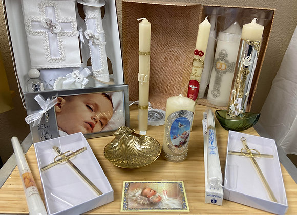 WATER SHELL, CANDLES, PICTURE FRAMES, CRIB METAL,  FOR BAPTISM/CHRISTENING