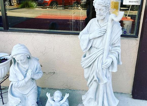 3 piece mary joseph and baby jesus large outdoor nativity