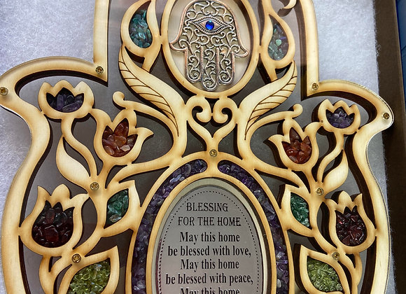 HANDCRAFTED IN HOLY LAND HOME BLESSING NATURAL STONE AND OLIVE WOOD AUTHENTIC CE