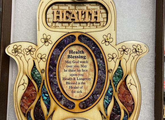 Hamsa Amethyst Stone Healing, Calming Energy, Health Wall Plaque
