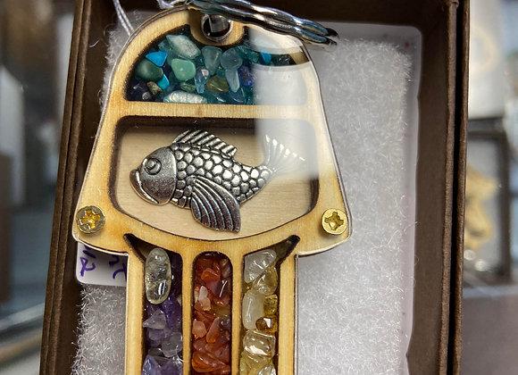 Hamsa Multi Stone Traveler's Prayer Keychain