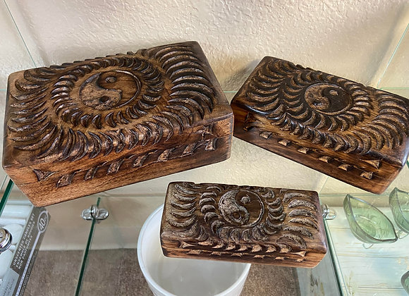 hand carved wood boxes INDIVIDUAL OR SET