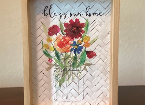 Handmade Wooden Boxed Flower Decorative Picture