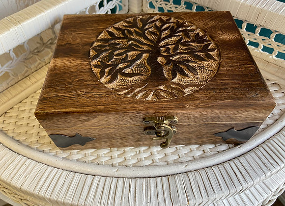 TREE OF LIFE WOOD CARVED BOX