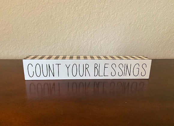 Decorative Wood Table Count Your Blessing Block