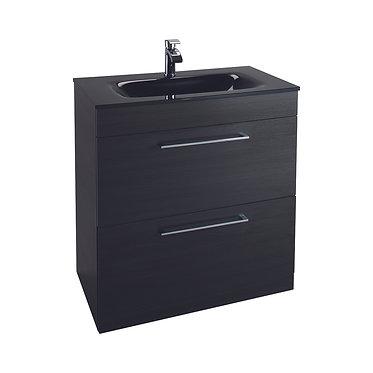 Idon 800 Black 2 Drawer Basin Unit with Polymarble Basin