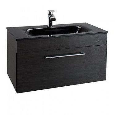 Idon 800 Black 1 Drawer Basin Unit with Polymarble Basin