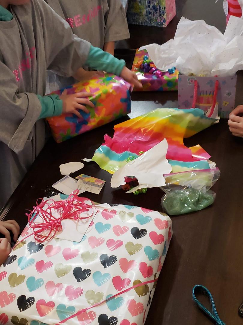 Opening birthday gifts