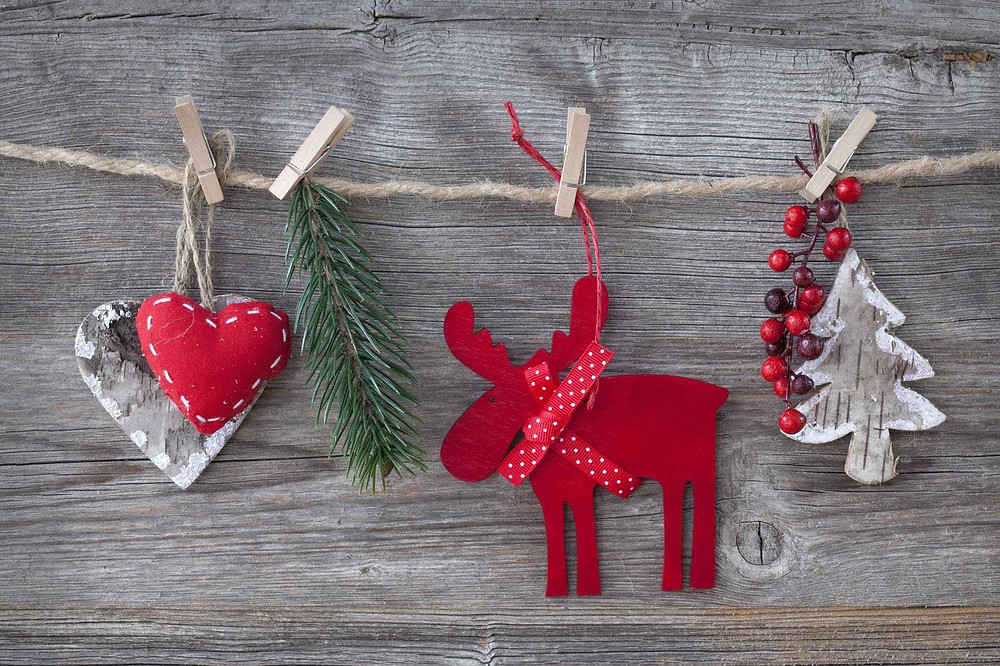 close up of christmas decorations hanging